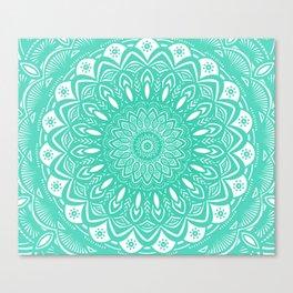 Minimal Aqua Seafoam Mint Green Mandala Simple Minimalistic Canvas Print