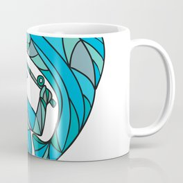 Fly Fisherman Catching Trout Mosaic Color Coffee Mug