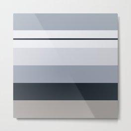 Winter Miminalist Monochromatic Horizontal Stripes Metal Print