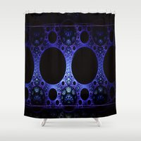 india Shower Curtains featuring India Blue by Fine2art