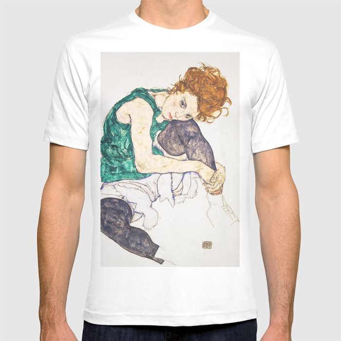Girl Sitting With Knees Up By Egon Schiele T Shirt By Viktoriusart