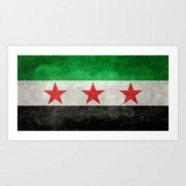 Syrian independence flag, vintage style Art Print