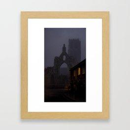 Ruins in fog Framed Art Print