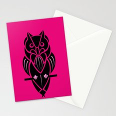 Owl - simple design - PINK Stationery Cards