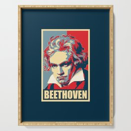 Beethoven Propaganda Poster Pop Art Serving Tray