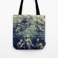 tom waits Tote Bags featuring And The Rain Waits For You by Tom Melsen