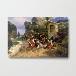 Classical Masterpiece Italian Brigands Surprised by Papal Troops by Horace Vernet Metal Print