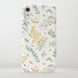 Australian wattle and eucalyptus watercolor floral iPhone Case
