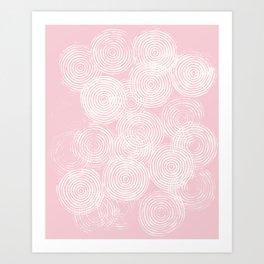 Radial Block Print in Pink Art Print