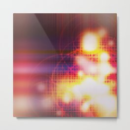 An abstract futuristic background with grid and burns or blast.  Metal Print