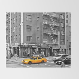 NYC - Yellow Cabs - Bagel Cafe Throw Blanket