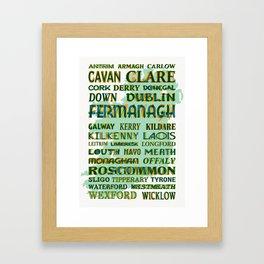 32 Counties Of Ireland Framed Art Print