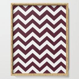 Light chocolate cosmos - purple color -  Zigzag Chevron Pattern Serving Tray
