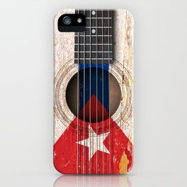 Old Vintage Acoustic Guitar with Cuban Flag iPhone Case