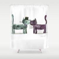 wedding Shower Curtains featuring Cat Wedding by maria carluccio