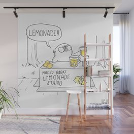 Mochi the pug's great lemonade stand Wall Mural