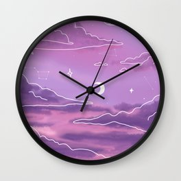 Purple Sunset View Wall Clock