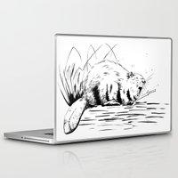beaver Laptop & iPad Skins featuring Beaver Yawn by Angela B Comics