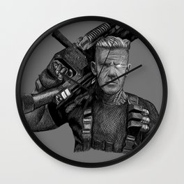 Cable (Greyscale Sketch #4) Wall Clock