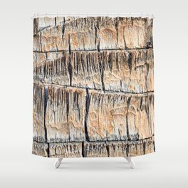 Palm Tree Razor Cuts // Close Up Tan and Natural Wood Texture Shower Curtain