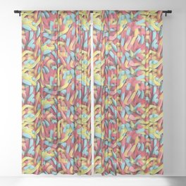 Neon Sour Gummy Worms Photo Pattern Sheer Curtain