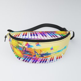 Colorful music instruments design Fanny Pack