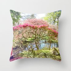 Japanese Garden, Flowers, Blossoms, Spring, Nature Photography Throw Pillow