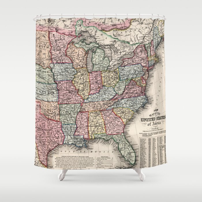 Vintage United States Map (1860) Shower Curtain by vuramedia on map of america in 1860, united states flag in 1860, blank united states in 1860, number of american states in 1860, south america map in 1860, union states in 1860, united states postal service in 1860, map of usa in 1860, northern states in the us in 1860, united states of america in 1860, us map in 1860, india map in 1860, map of europe in 1860, texas map in 1860, map of western states in 1860, states and capitals in 1860,