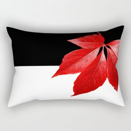 Red Leaf With Black & White Rectangular Pillow