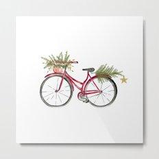 Red Christmas bicycle Metal Print