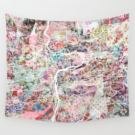 Prague map Wall Tapestry