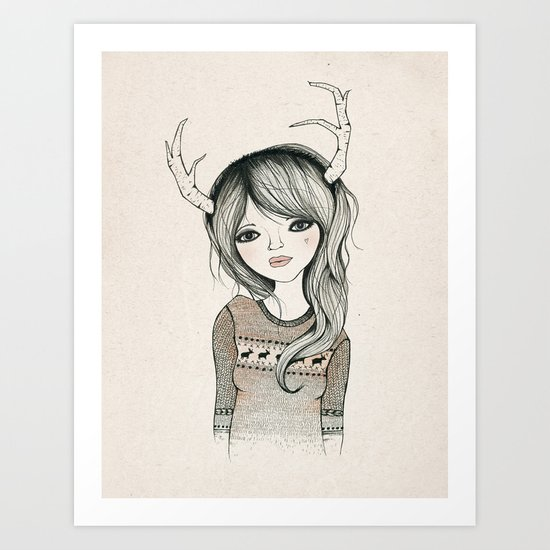 Antler Girl Art Print