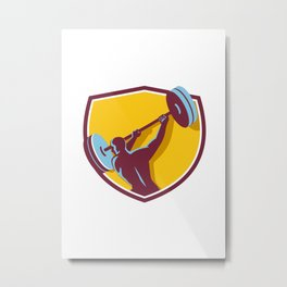 Weightlifter Swinging Barbell Rear Crest Retro Metal Print