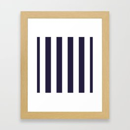 Dark eclipse Blue and White Wide Vertical Cabana Tent Stripe Framed Art Print