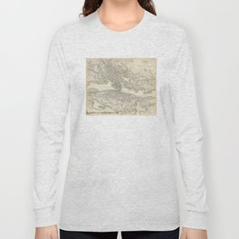 Vintage Map of Stockholm Sweden (1838) Long Sleeve T-shirt