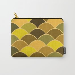 Waves pattern Revival Design yellow brown  Carry-All Pouch