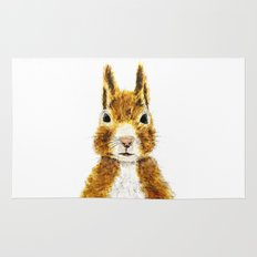 cute little squirrel watercolor Rug