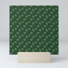 Dark Green And White Queen Anne's Lace pattern Mini Art Print
