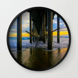 Sunset HB Pier Pilings  ~ LABOR DAY   9/2/13  Wall Clock