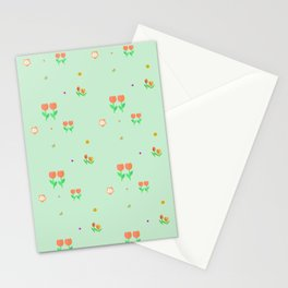 Modern abstract mint green  coral orange floral Stationery Cards