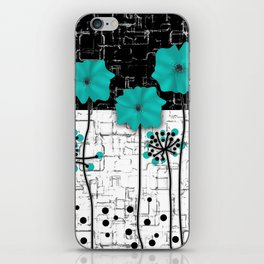 Turquoise flowers on black and white background . iPhone Skin