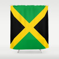 jamaica Shower Curtains featuring Flag of Jamaica by Neville Hawkins