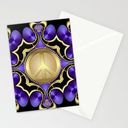 Purple Satin Golden Peace Stationery Cards