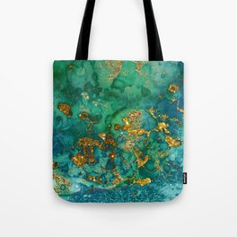 Malachite and Gold Glitter Stone Ink Abstract Gem Glamour Marble Tote Bag