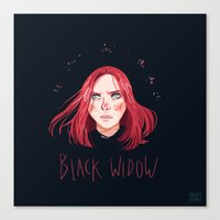 black widow Canvas Prints featuring Black Widow by Galaxyspeaking