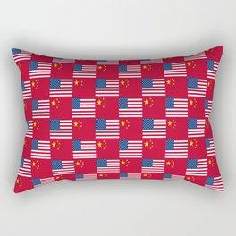Mix of flag: usa and China Rectangular Pillow