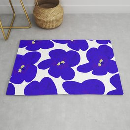 Blue Retro Flowers #decor #society6 #buyart Rug