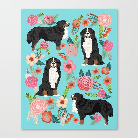 Bernese Mountain Dog pet portrait dog art illustration fur baby dog breed floral gift for dog lover Canvas Print
