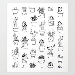 Cactus Line Art Pattern Art Print