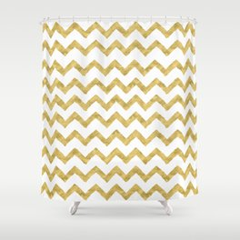 Chevron Gold And White Shower Curtain